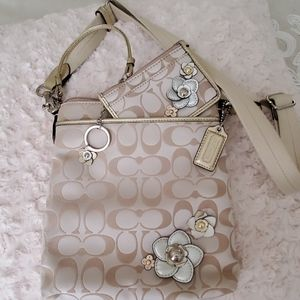 Coach cross body bag with flowers